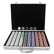 Trademark Poker 1,000 Dice Striped Chip Poker Set and Case