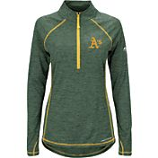 Majestic Women's Oakland Athletics Cool Base Green Half-Zip Pullover