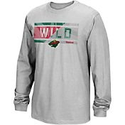 Reebok Men's Minnesota Wild Frozen Stripe Grey Long Sleeve T-Shirt