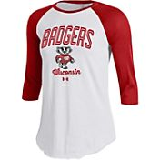 Under Armour Women's Wisconsin Badgers Red/White Baseball Tee