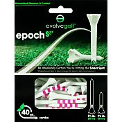 "Evolve Golf Epoch S3 3.25"" & 1.25"" White/Pink Golf Tee Combo – 40-Pack"